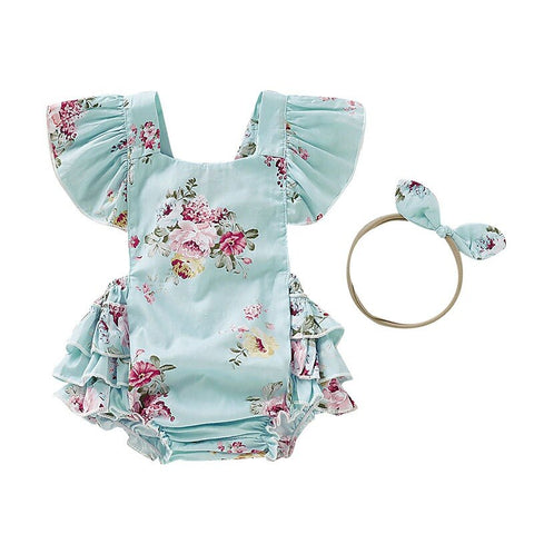 Baby Girl Floral Rompers Set With Headband