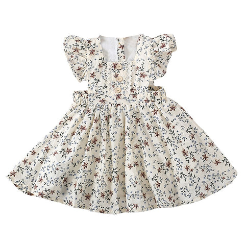 Toddler Girls Sleeveless Solid/Floral Ruched Dress