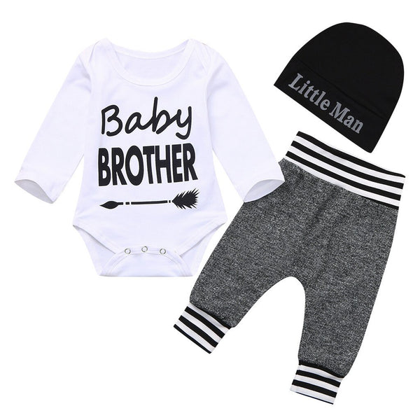 Baby Boy Romper+Pants+Hat 3PCS Outfit Set