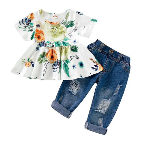 Baby Girl Floral Crop Tops+Hole Denim Pants Outfit Set