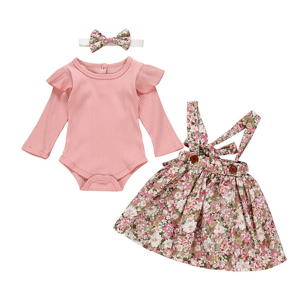 Baby Girl Long Sleeve Solid Ruffled Ribbed Romper Floral Skirts Set