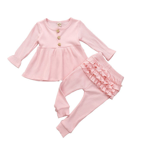Baby Girls Solid T-Shirt Dress Top+Ruffle Pants Outfits