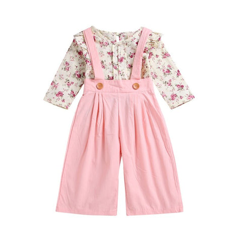 2Pcs Girls Set Floral Blouse Overall Set