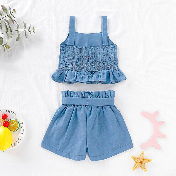 Toddler Baby Girl Ruffle Top + Bow Shorts Set