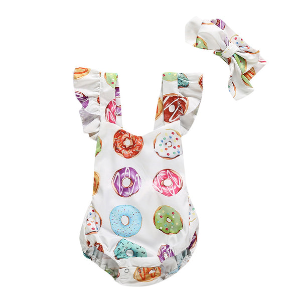 Baby Girls Sleeveless Romper+Hair Band Donut Set