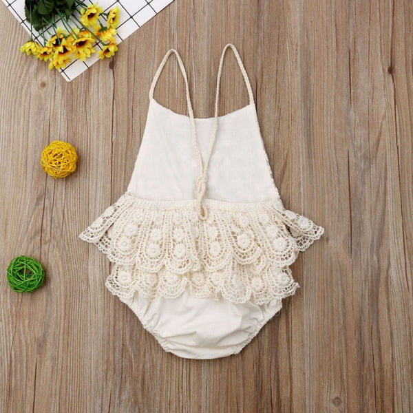 Baby Girl Backless Lace Romper
