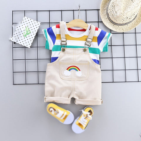 Baby/Toddler Boys Rainbow Striped T Shirt - Overalls 2Pcs Outfit