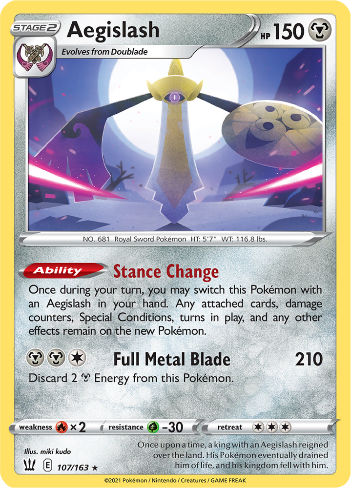 (107/163) Aegislash - Holo - Battle Styles - PokeRand