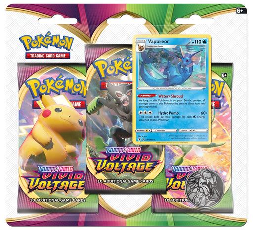 3 Pack Blister (Vaporeon) - Vivid Voltage - PokeRand