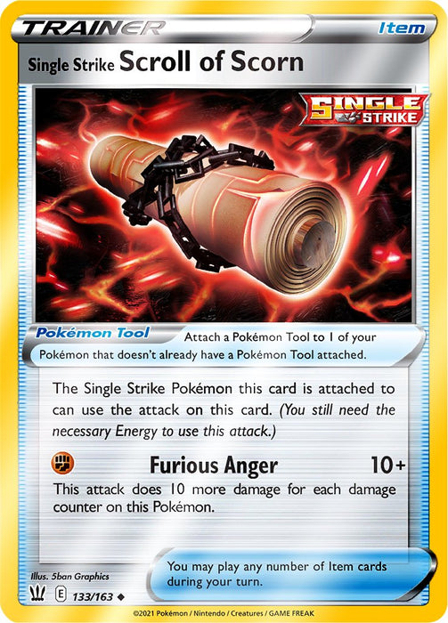 Reverse Holo (133/163) Single Strike Scroll of Scorn - Battle Styles