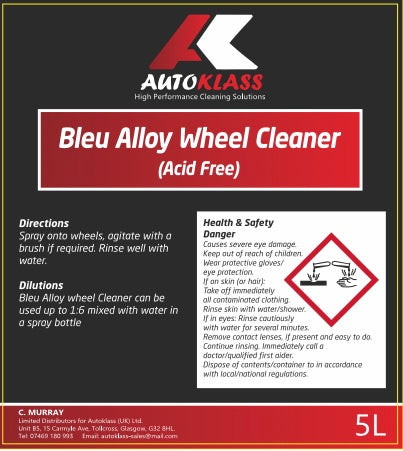 Bleu Alloy Wheel Cleaner (Acid Free) - Autoklass Cleaning Solutions