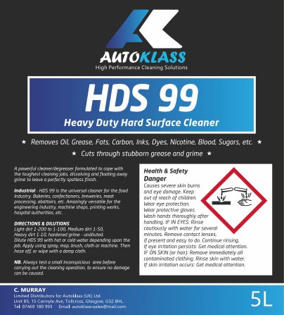 HDS 99 (Heavy Duty Surface Cleaner) - Autoklass Cleaning Solutions