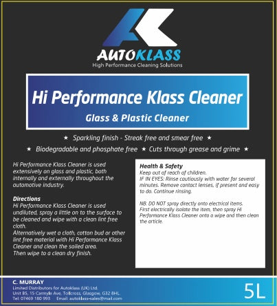 Hi Performance Glass Cleaner - Autoklass Cleaning Solutions