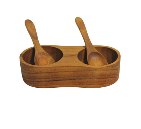 Teak Salt & Pepper Cellar with Spoons