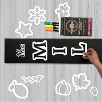 Placing the Magnet Letter Stencils for DIY Craft Kit on a 5 foot Vertical Sign Chalkboard