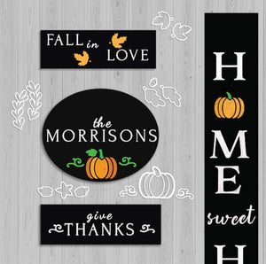 4 Plata Chalkboards decorated for fall with Plata Fall Chalkboard Stencils. Fall in love hanging chalkboard sign, Give Thanks wreath sign, Home sweet Home Vertical Porch Sign and Plata Oval Chalkboard personalized last name sign