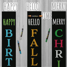 Load image into Gallery viewer, Rae Dunn Style Word Chalkboard Stencils, Happy Stencil, Hello Stencil, Merry Stencil, Time Stencil for crafting holiday chalkboard signs by Plata Chalkboards