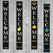 Load image into Gallery viewer, 4 Plata Porch chalkboards decorated for every season using Plata Seasonal Calligraphy Stencil Pack. Welcome Spring Sign, Welcome Summer Sign, Welcome Autumn Sign, Welcome Winter Sign