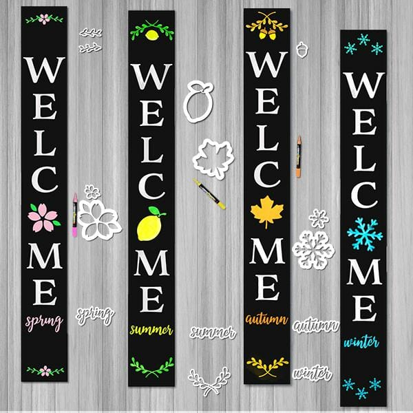 4 Plata Porch chalkboards decorated for every season using Plata Seasonal Calligraphy Stencil Pack. Welcome Spring Sign, Welcome Summer Sign, Welcome Autumn Sign, Welcome Winter Sign