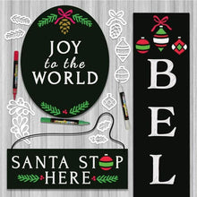 Load image into Gallery viewer, 3 Plata Chalkboard stenciled for Christmas with Plata Christmas Chalkboard Stencils Oval Joy to the World Chalkboard, Santa Stop Here Hanging Chalkboard sign and Believe Vertical Porch Chalkboard