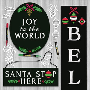 3 Plata Chalkboard stenciled for Christmas with Plata Christmas Chalkboard Stencils Oval Joy to the World Chalkboard, Santa Stop Here Hanging Chalkboard sign and Believe Vertical Porch Chalkboard