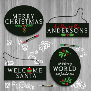 4 Plata Chalkboards decorated using Plata Christmas Chalkboard Stencils- Merry Christmas Oval Chalkboard sign, a weary world rejoices oval chalkboard sign, Welcome Santa Hanging Chalkboard Sign, personalized last name hanging door sign chalkboard