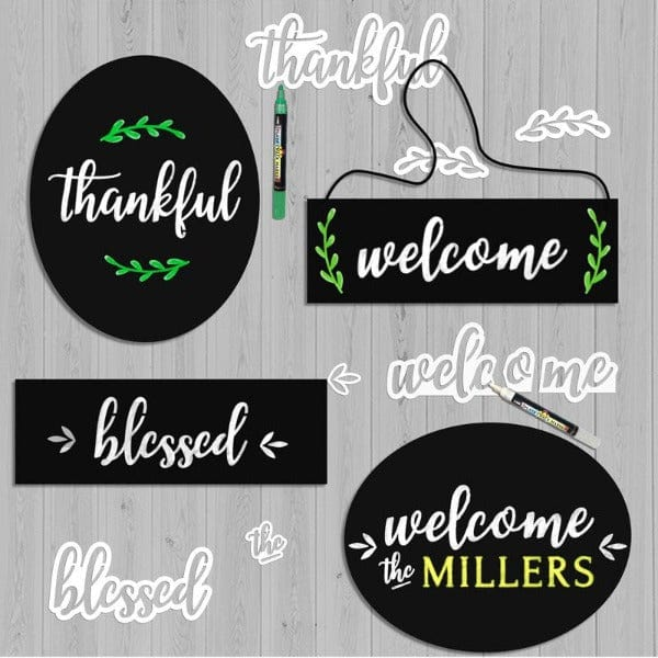 4 chalkboards stenciled with Plata Magnetic Calligraphy stencils. Welcome stencil, thankful stencil, blessed stencil, laurel stencils magnetic stencils for chalkboards