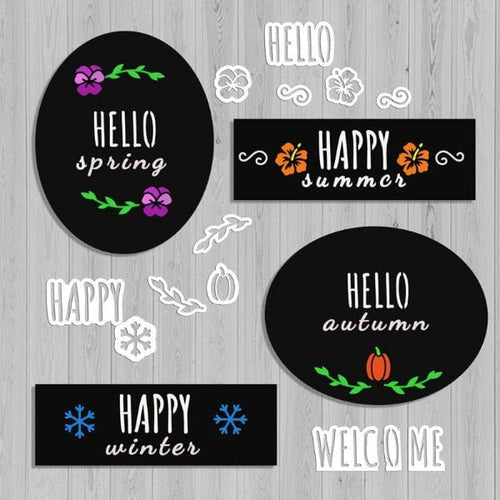 4 Plata Chalkboards decorated with Capital Rae Dunn Style Stencils- Hello stencil, Happy Stencil, Welcome stencil, pansy stencil, hibiscus stencil, pumpkin stencil, snowflake stencil, laurel stencil for chalkboards