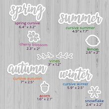 "Load image into Gallery viewer, Sizes of Plata Chalkboard Seasonal Calligraphy Stencils. spring cursive stencil 6"", summer cursive stencil 7.7"", autumn cursive stencil 7"" and winter cursive stencil 5.9"", snowflake stencil 2.4"", lemon stencil 2.6"", acorn stencil 2"""