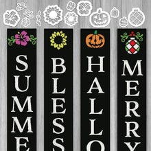 Load image into Gallery viewer, A set of magnetic chalkboard stencils for every season to create an interchangeable welcome sign. Includes Jack-o-latern stencil, pumpkin stencil, 2 pansy stencils, 2 sunflower stencils, 2 summer flower stencils, 2 Christmas ornament stencils and 2 laurel stencils for chalkboards