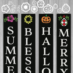 A set of magnetic chalkboard stencils for every season to create an interchangeable welcome sign. Includes Jack-o-latern stencil, pumpkin stencil, 2 pansy stencils, 2 sunflower stencils, 2 summer flower stencils, 2 Christmas ornament stencils and 2 laurel stencils for chalkboards