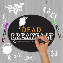 Load image into Gallery viewer, Shows how to make a chalkboard with magnetic letter and design stencils- crafting a Halloween Dead and Breakfast Sign with Halloween stencils and paint pens