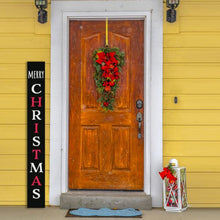 Load image into Gallery viewer, 5 foot Vertical Tall Christmas Sign Porch Chalkboard by Plata Chalkboards that is stenciled Merry Christmas next to farmhouse front door decorated for Christmas