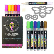 Load image into Gallery viewer, Plata Chalkboard Paint Pens 12 colors of waterproof erasable paint pens and magnetic bee stencil