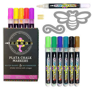Plata Chalkboard Paint Pens 12 colors of waterproof erasable paint pens and magnetic bee stencil