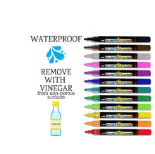 Load image into Gallery viewer, 12 colorful waterproof erasable paint chalk marker pens from Plata Chalkboards. Erase with vinegar.