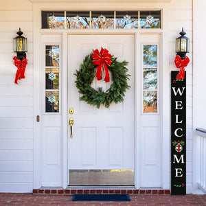 Plata Porch Chalkboard on the front porch of a colonial home stencilled to create a Christmas Vertical Porch Sign