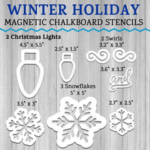 Load image into Gallery viewer, Overview of magnetic stencils included in Winter Holiday Chalkboard Stencil Set. 2 Christmas Light Stencils, 3 Snowflake Chalkboard Stencils, 2 swirl stencils and 1 cursive and word stencil for crafting DIY Holiday Signs