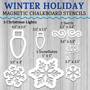 Overview of magnetic stencils included in Winter Holiday Chalkboard Stencil Set. 2 Christmas Light Stencils, 3 Snowflake Chalkboard Stencils, 2 swirl stencils and 1 cursive and word stencil for crafting DIY Holiday Signs
