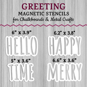 Magnetic Word Stencils Accessories for Plata Porch Welcome Sign Chalkboards.  Hello Stencil, Happy Stencil, Time Stencil and Merry Stencil for DIY Holiday Outdoor Signs
