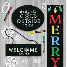 Load image into Gallery viewer, Christmas DIY Craft Kits for making stenciled Holiday door signs. Shows 3 stenciled signs- hanging welcome door sign, Baby it's cold Outside Sign, and Merry and Bright Vertical Porch sign chalkboard