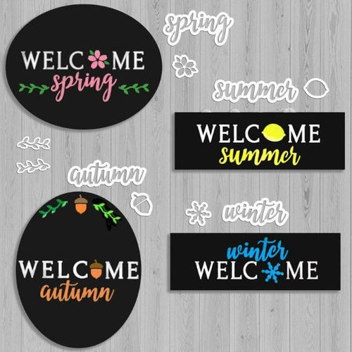 4 Plata Chalkboards decorated with Plata Seasonal Calligraphy Chalkboard Stencils. Oval Chalkboard stenciled Welcome Spring, Oval Chalkboard stenciled welcome autumn, hanging wreath sign welcome summer, Plata Wreath Chalkboard welcome winter