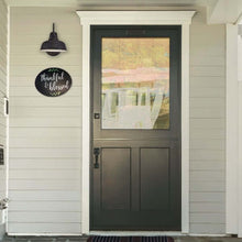 Load image into Gallery viewer, Plata Oval Chalkboard next to front door of colonial home Oval Thankful & Blessed Sign stenciled with magnetic stencils and paint pens