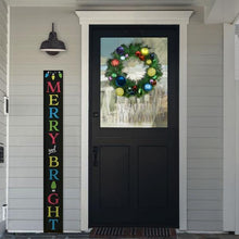 Load image into Gallery viewer, A Plata Porch Chalkboard Christmas Sign stenciled to say Merry and Bright in the front of a home decorated for the holidays