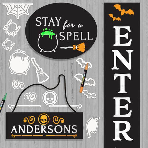 3 Plata Chalkboards decorated with Halloween Stencils to craft a Halloween signs. Stay for a Spell oval chalkboard sign with cauldron stencil and broom stencil, Hanging chalkboard sign stenciled with last name and grave yard stencils, and Enter if You Dare Halloween Porch Sign