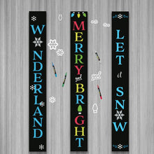 Load image into Gallery viewer, Three Plata Porch Chalkboards DIY Signs decorated using Winter Holiday Chalkboard Stencils. Winter Wonderland Vertical Sign, Merry and Bright Vertical Sign and Let it Snow Chalkboard Vertical Sign
