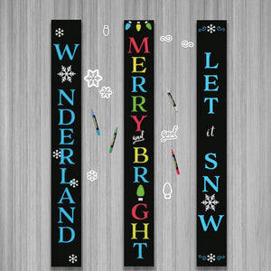 Three Plata Porch Chalkboards DIY Signs decorated using Winter Holiday Chalkboard Stencils. Winter Wonderland Vertical Sign, Merry and Bright Vertical Sign and Let it Snow Chalkboard Vertical Sign
