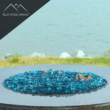 Aqua Blue Reflective Tempered Fire Glass Beads