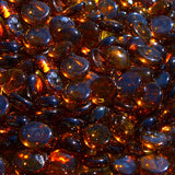 Dark Amber Reflective Tempered Fire Glass Beads