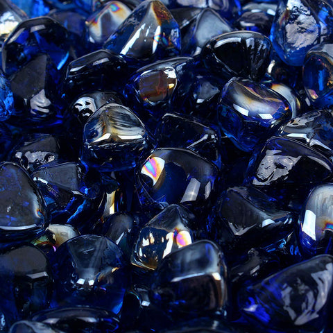 Dark Blue Reflective Fire Glass Diamonds